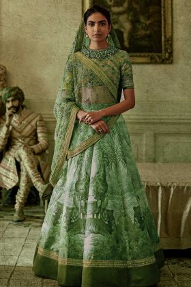 Green Color Chennai Silk Printed Lehenga Choli