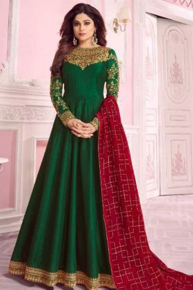 Green Color Dola Silk Anarkali Style Salwar Suit With Embroidery Work