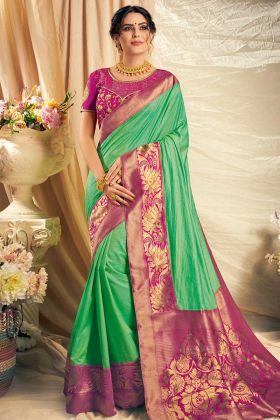 Green Color Dual Tone Silk Wedding Saree
