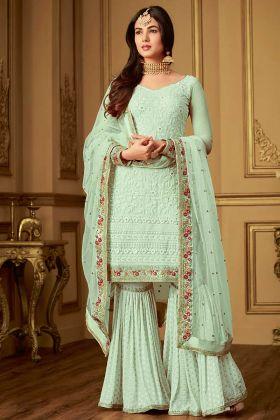 Green Color Embroidery Work Net Pakistani Dress
