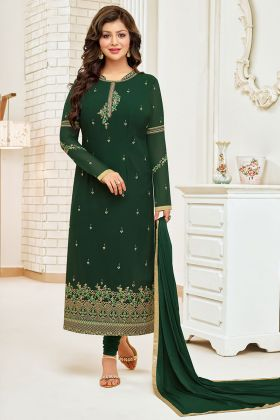 Green Color Faux Georgette Salwar Suit With Full Embroidery Work