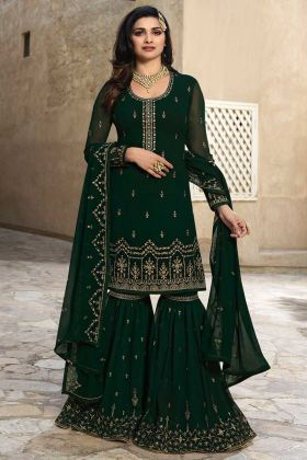 Green Color Georgette Sharara Salwar Suit With Embroidrery Work