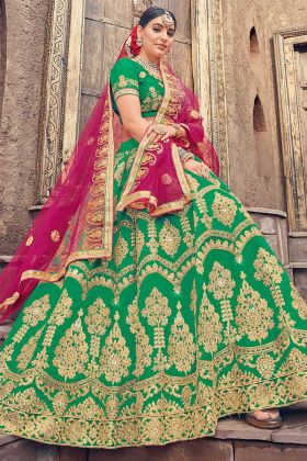 Green Color Heavy Zari Embroidery Work Silk Wedding Lehenga Choli