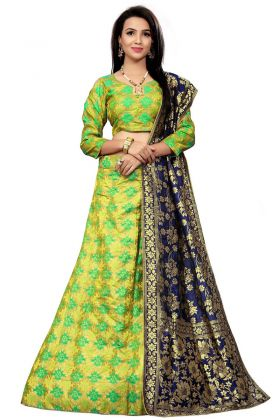 Green Color Jacquard Lehenga Choli With Woven Print Lehenga Choli
