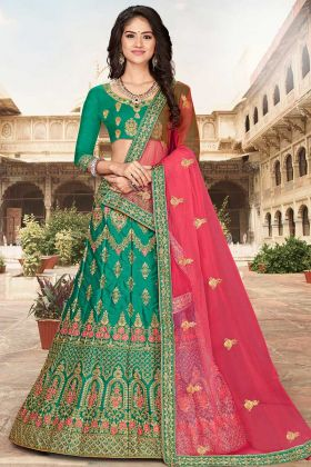 Green Color Jari Work Bridal Lehenga With Rani Pink Net Dupatta