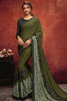 Green Color Lycra Wedding Saree