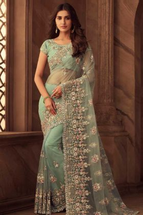Green Color Net Party Wear Saree