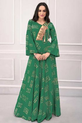 Green Color Party Wear Gown