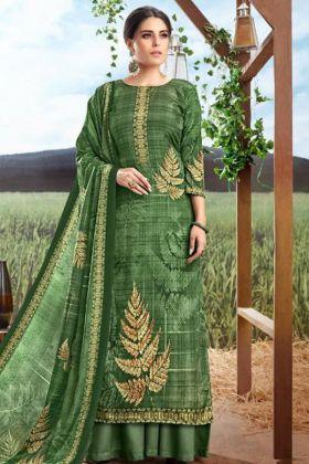 Green Color Pure Crepe Silk Palazzo Salwar Kameez