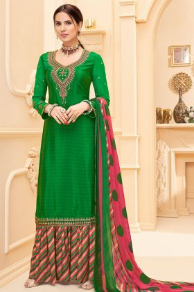 Green Color Pure French Crepe Sharara Salwar Suit With Pure Georgette Dupatta