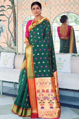 Green Color Pure Paithani Silk Saree With Self Weaving Work