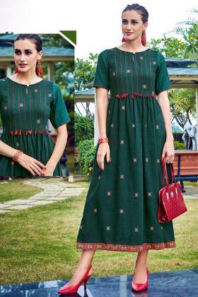 Green Color Rayon Print Designer Fancy Kurti
