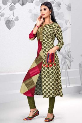 Green Color Rayon Printed Kurti