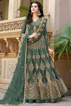 Green Color Resham Embroidery Work Net Indo Western Salwar Suit