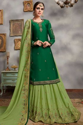 Green Color Satin Georgette Indo Western Salwar Kameez With Embroidery Work