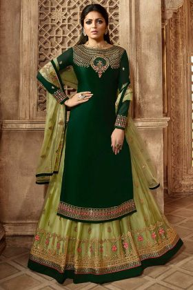 Green Color Satin Georgette Indo Western Salwar Suit With Embroidery Work