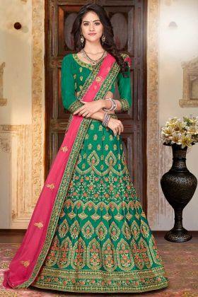 Green Color Satin Silk Bridal Lehenga Designs