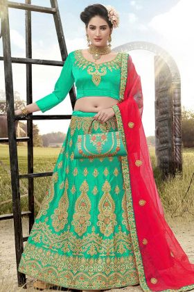 Green Color Satin Silk Lehenga Choli With Heavy Zari Embroidery Work