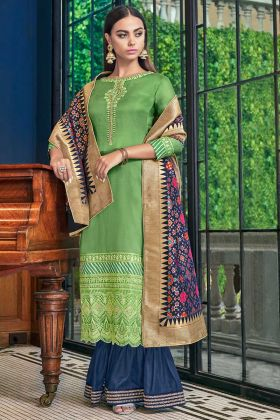Green Color Satin Silk Sharara Salwar Kameez