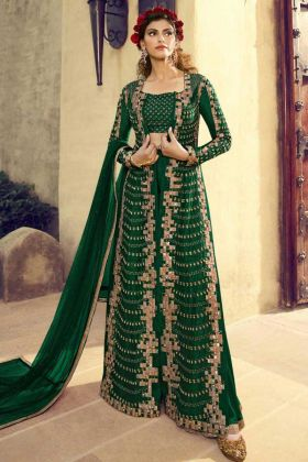 Green Color Silk Jacket Style Party Wear Salwar Suit With Heavy Embroidery Work