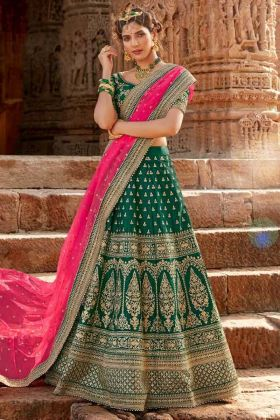 Green Color Silk Traditional Lehenga Choli For Women