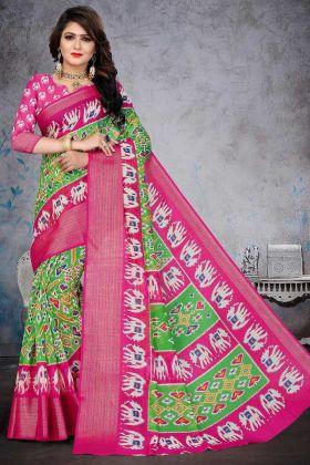 Green Color Soft Cotton Wedding Gujarati Patola Saree