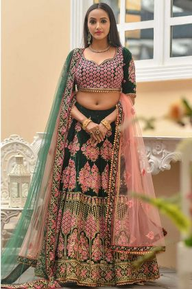 Green Color Velvet Bridal Lehenga Choli With Heavy Embroidery Work