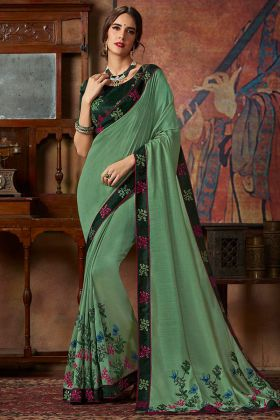 Green Color Vichitra Silk Party Wear Saree With Thread Silk Embroidery Work