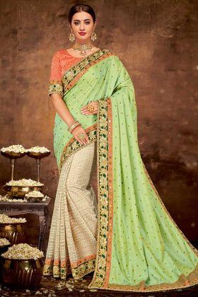 Green Color Zari Embroidery Work Dual Tone Silk Festival Saree