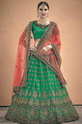 Green Designer Exclusive Satin Party Wear Lehenga Choli With Stone Work