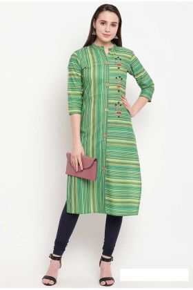 Green Designer Readymade A-Line Patterned Kurti