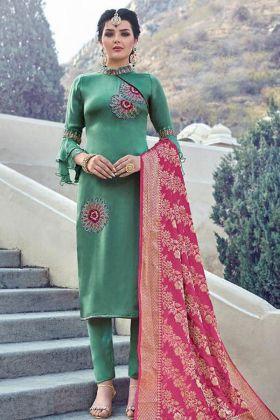 Green Designer Satin Georgette Salwar Suit