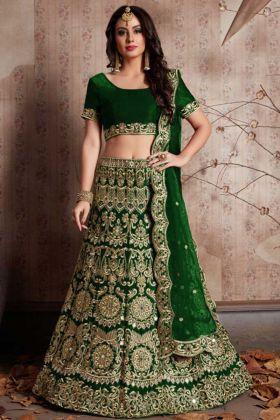 Green Designer Wedding Wear Velvet Silk Lehenga Collection