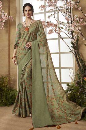 Green Dola Silk Printed Saree