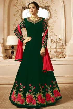 Green Embroidered Georgette Semi Stitched Anarkali Suit