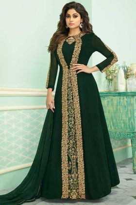 Green Embroidered Jacket Style Anarkali Suit