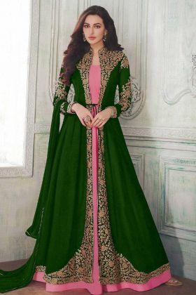 Green Georgette Embroidery Jacket Style Anarkali Salwar Suit