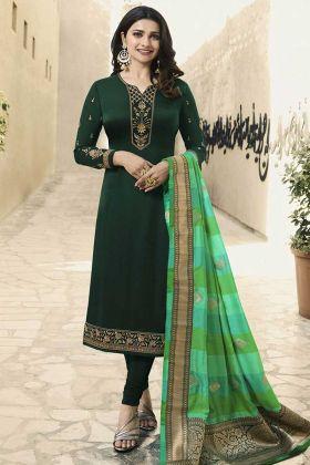 Green Georgette Satin Salwar Suit With Banarasi Silk Dupatta