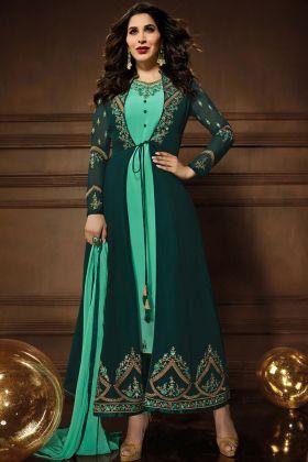 Green Georgette Wedding Wear Jacket Style Salwar Suit