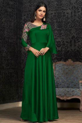 Green Glowing Georgette Party Wear Gown Online