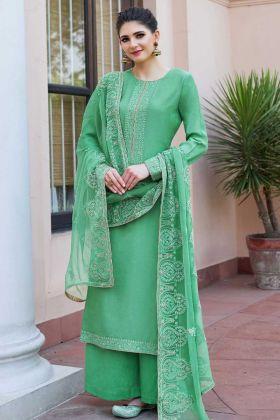 Green Heavy Muslin Palazzo Salwar Kameez