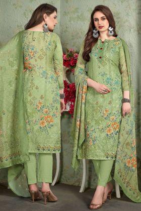 Green Heavy Muslin Pant Style Salwar Suit