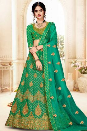 Green Jacquard Silk Indian Wedding Lehenga Choli With Net Dupatta