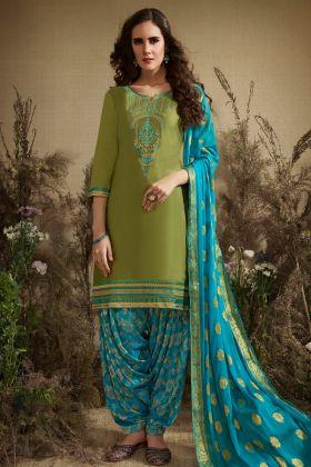 Green Jam Silk Cotton Punjabi Dress