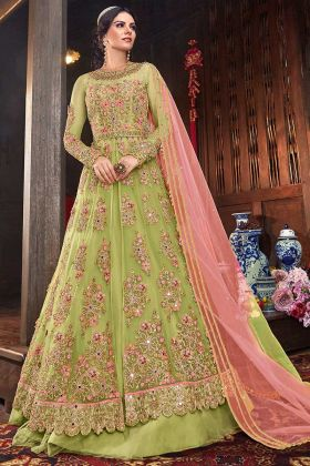 Green Lehenga Net Fabric And Pant Art Silk Pant Salwar Suit