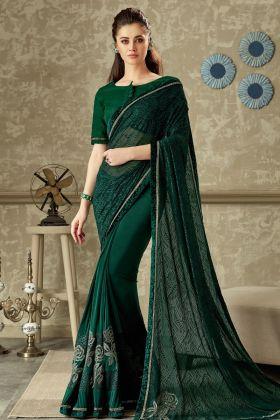 Green Lycra Fancy Saree Online