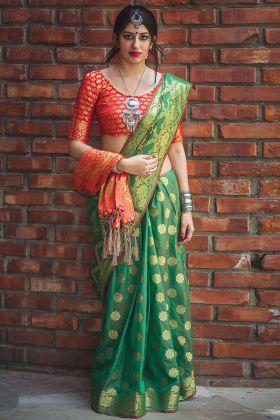 Green Patola Silk Wedding Saree Green Color