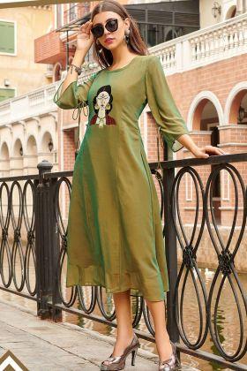 Green Printed Kurti Design