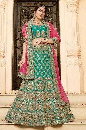 Green Pure Heavy Silk Bridal Lehenga Choli