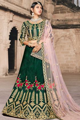 Green Pure Taffeta Wedding Lehenga With Dori Work